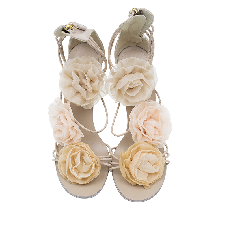 Giuseppe Zanotti Pink Chiffon and Leather Flower Appliqué Sandals Size 37