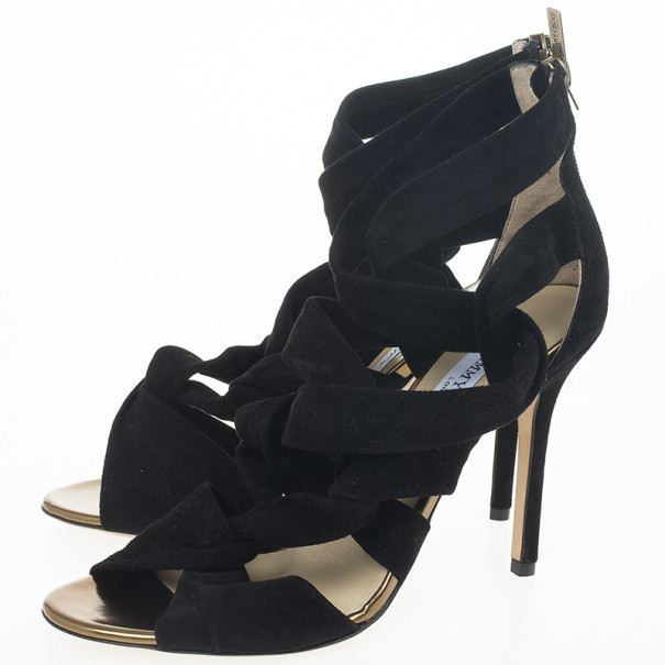 Jimmy Choo Black 'Kami' Knotted Suede Sandals Size 39