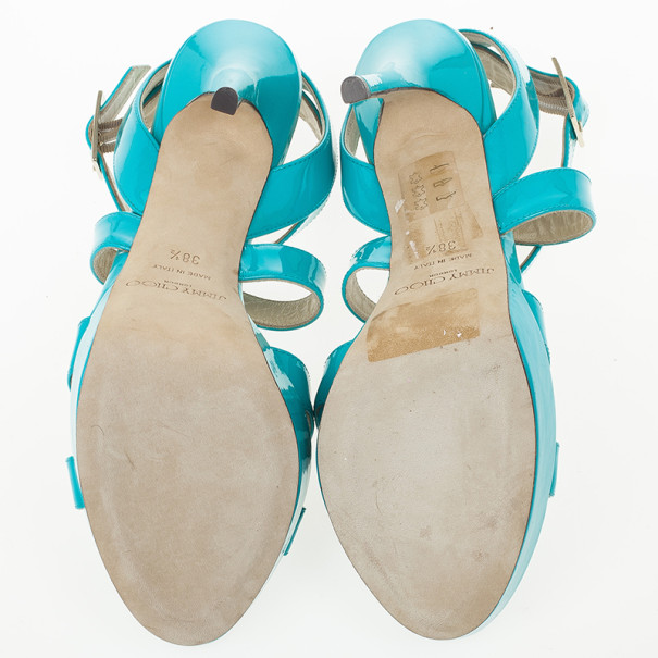 Jimmy Choo Sky Blue Patent Leather Vamp Sandals Size 38.5