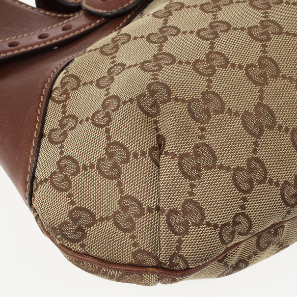 Gucci Signature Horsebit Monogram and Leather Hobo