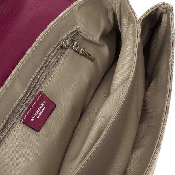 Burberry Beige Peyton Haymarket PVC Shoulder Bag