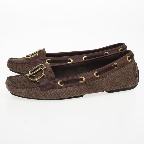 Christian Dior Brown Snake Embossed 'CD' Boatstitched Loafers Size 38