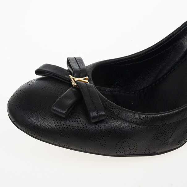 Louis Vuitton Black Leather Mahina Elba Ballet Pumps Size 37