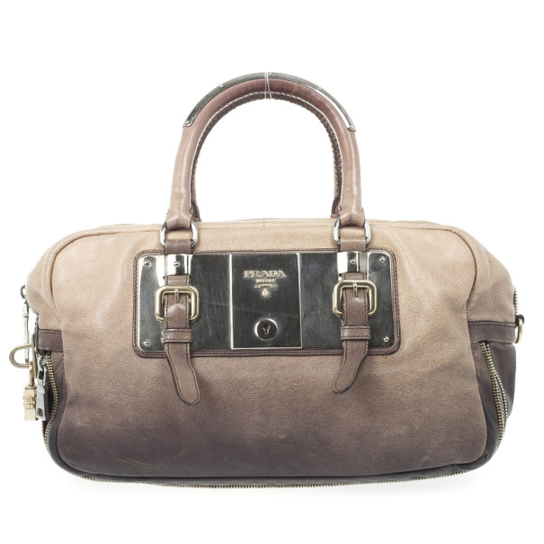 Prada Beige & Brown Ombre Glace Leather Zippers Satchel Bag