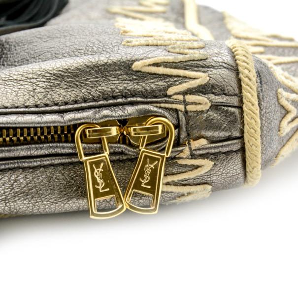 Yves Saint Laurent Silver Embroidered Boston Bag