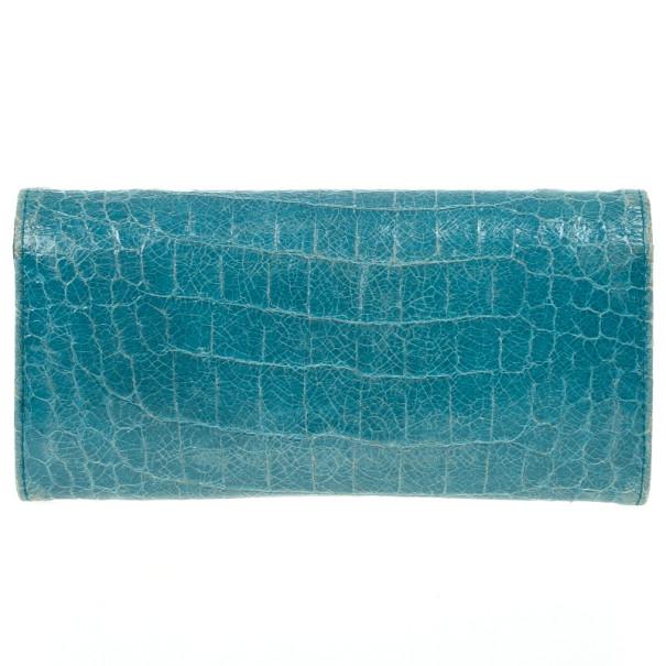 Miu Miu Blue Croc Print Patent Flap Continental Wallet