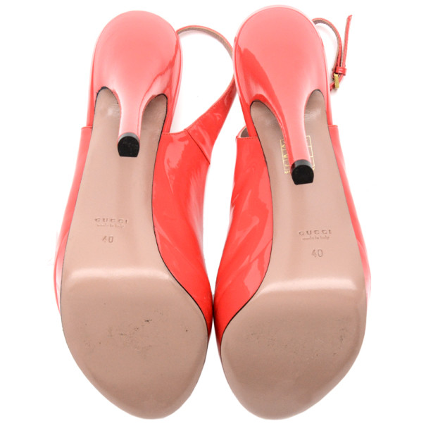 Gucci Pink Patent Lisbeth Platform Slingback Sandals Size 40
