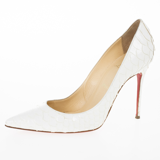Christian Louboutin White Python Pigalle Pumps Size 40.5