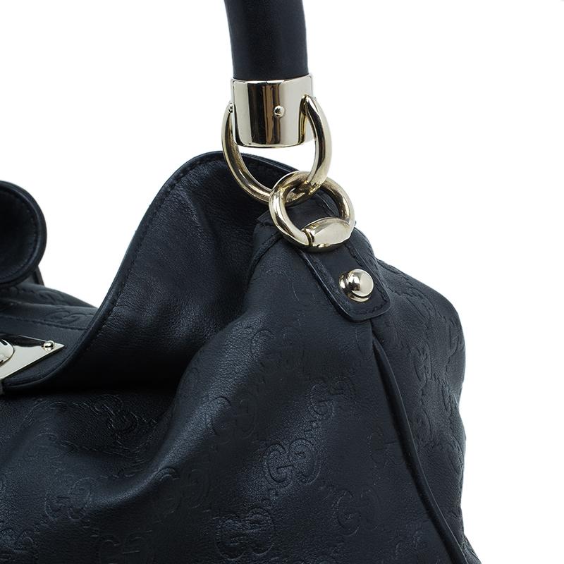 Gucci Black Monogram Leather Large Indy Tassel Hobo