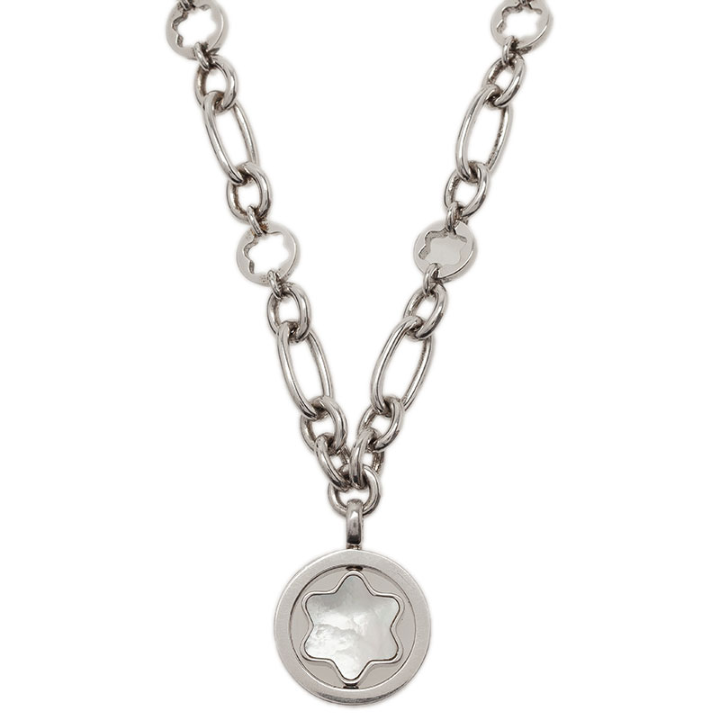Montblanc Star Signet Mother Of Pearl Silver Pendant Necklace