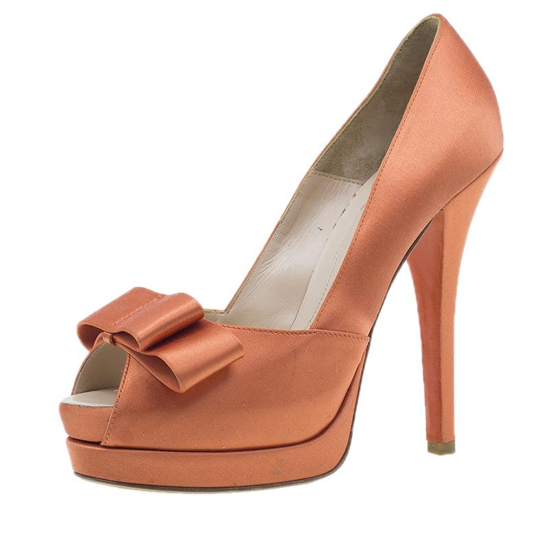 Fendi Orange Satin Deco Bow Platform Pumps Size 40