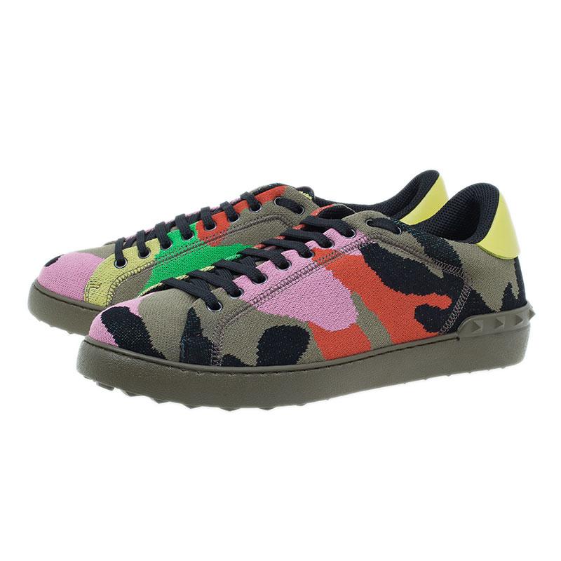 Valentino Multicolor Camouflage Canvas Sneakers Size 43