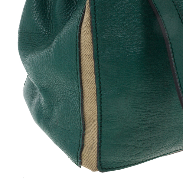 Saint Laurent Paris Green Granulated Calf Leather New Muse Two Bag