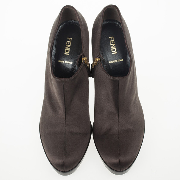 Fendi Brown Satin Ankle Booties Size 38