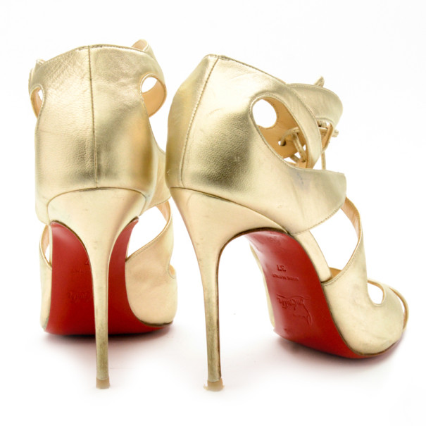 Christian Louboutin Gold Leather Marechale 100mm Strappy Sandals Size 37