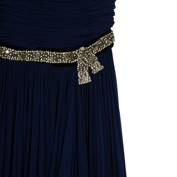 Reem Acra Embellished Belt Strapless Gown M
