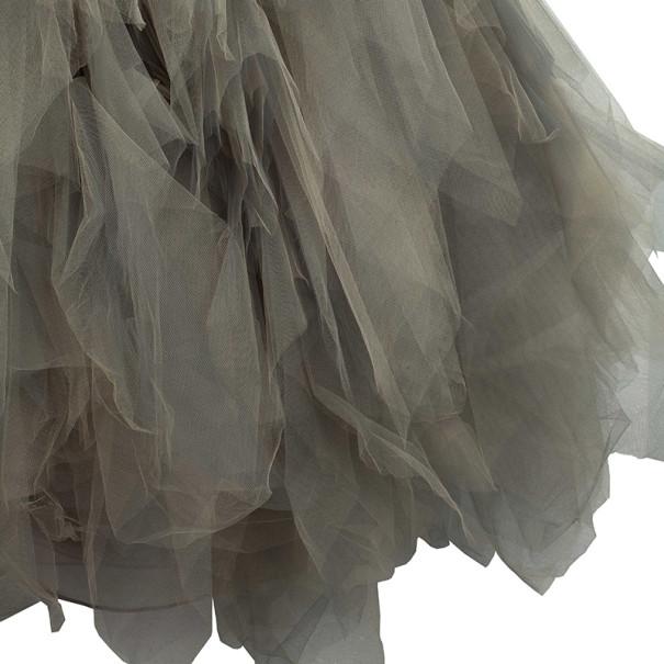 Oscar de la Renta Sand Tulle Sleeveless Gown M