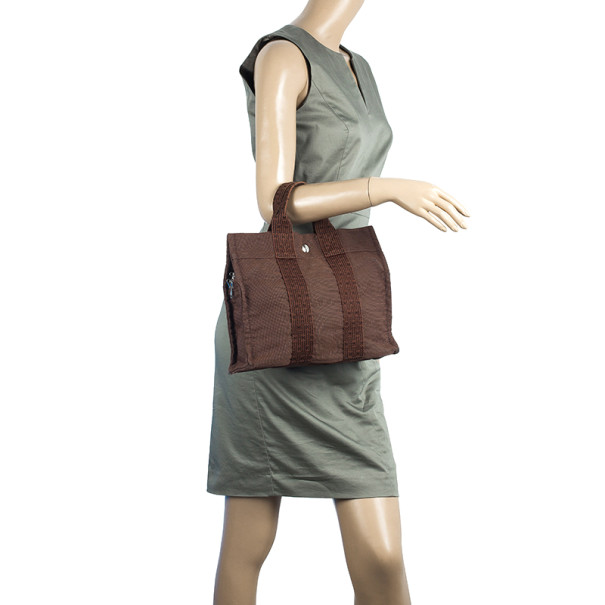 Hermes Her Line PM Gray Canvas Tote
