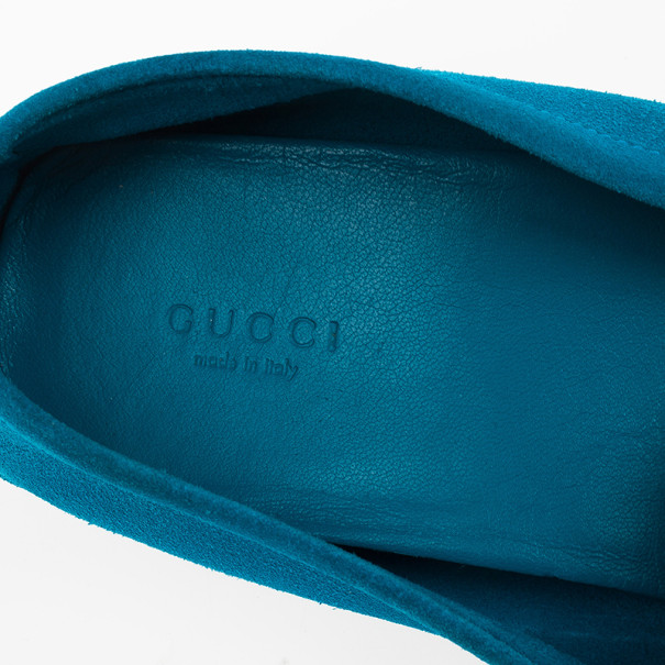 Gucci Blue Suede & Microguccissima Leather Loafers Size 38.5