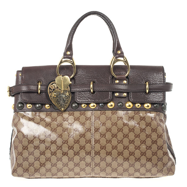 Gucci GG Babouska Crystal Leather Flap Satchel