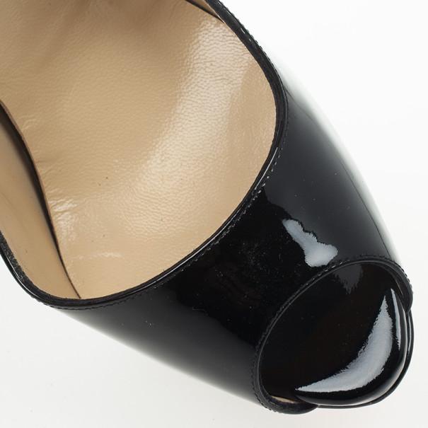 Christian Louboutin Black Patent Lady Peep Toe Platform Slingback Sandals Size 38