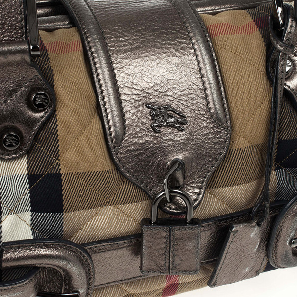 Burberry Metallic Quilted House Check Manor Satchel