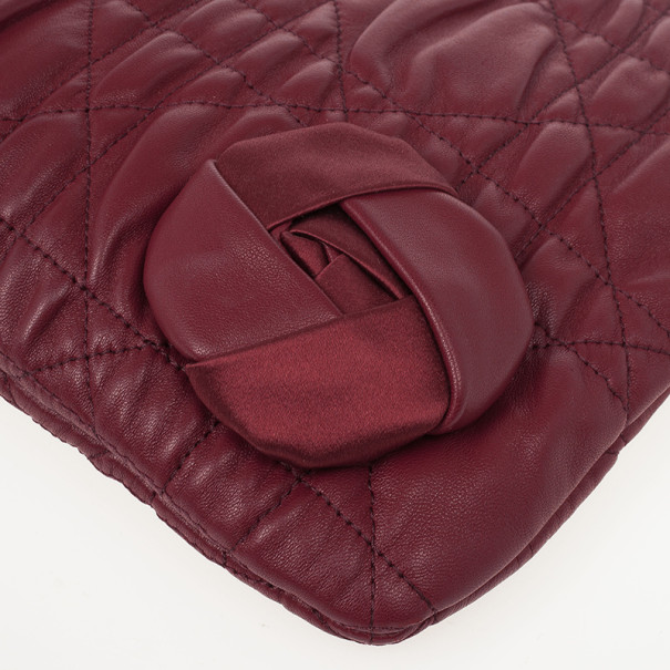 Dior Red Cannage Quilted Lambskin Delidior Satin Rosette Small Clutch