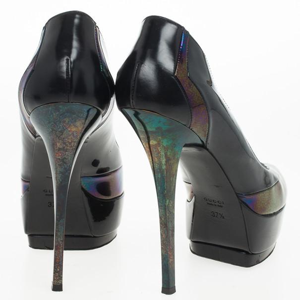 Gucci Oil Slick & Patent Leather Platform Pumps Size 37.5