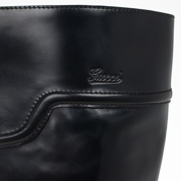 Gucci Black Leather Knee Length Boots Size 38