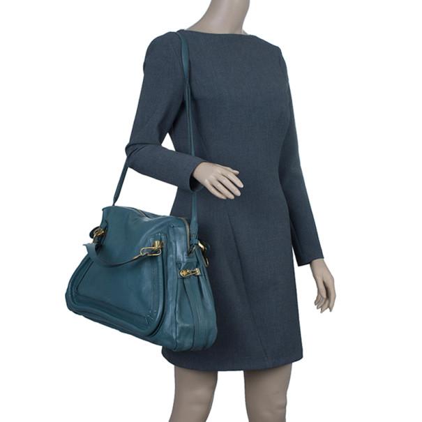 Chloe Sea Blue Leather Large Paraty Bag