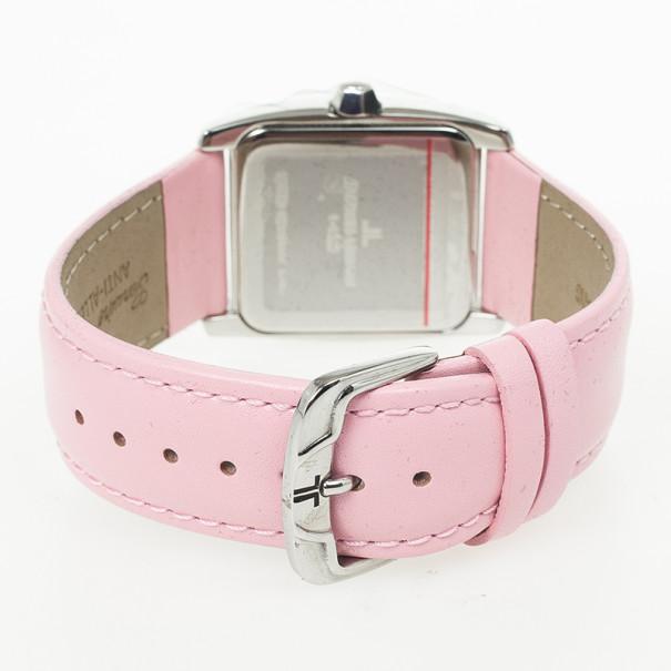 Jacques Lemans SS Leather Pink Quartz 1-1305 Womens Wristwatch 31 MM
