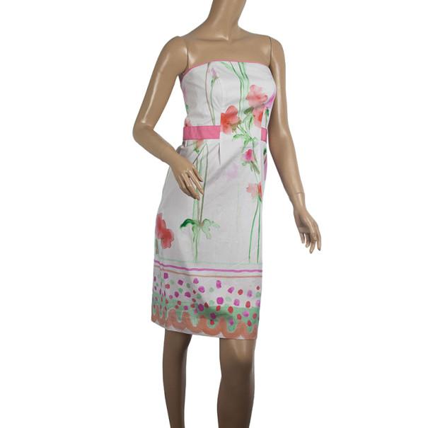 Philosophy di Alberta Ferretti Strapless Floral Print Dress S