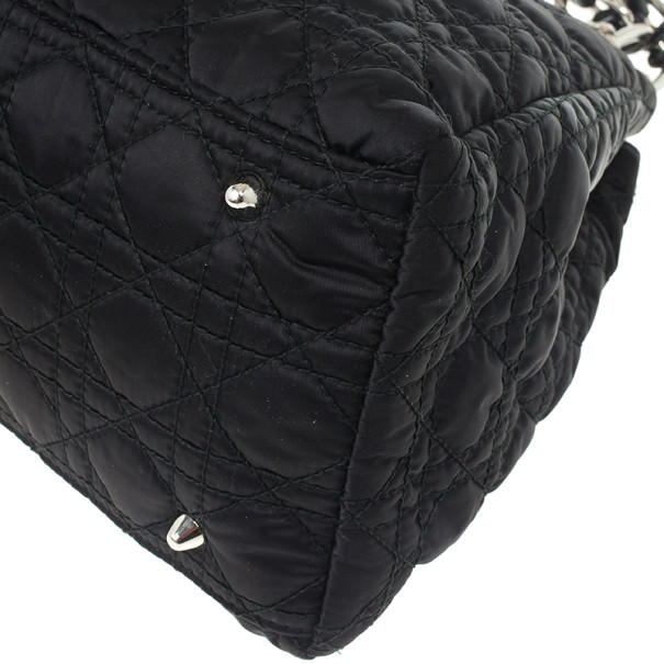 Christian Dior Quilted Black Satin Cannage Charming Lock Satchel