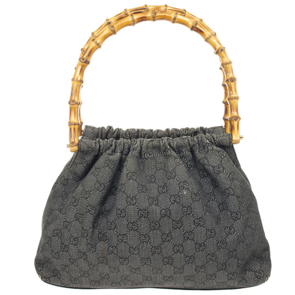 Gucci Denim Bag With Wooden Bamboo