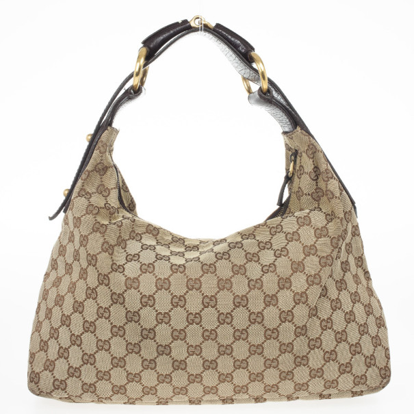 Gucci Navy Beige GG Canvas Medium Horsebit Hobo