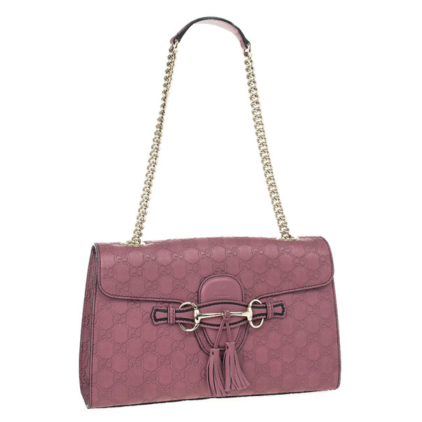 Gucci Pink Emily Guccissima Leather Chain Shoulder Bag