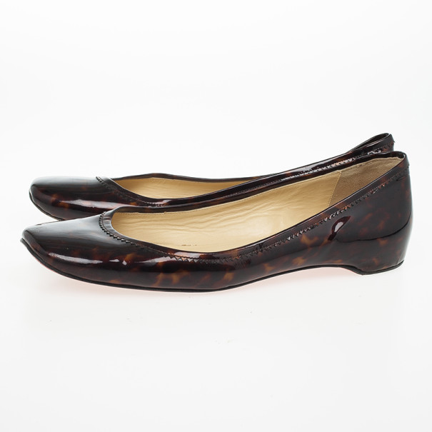 black and white louboutins - christian louboutin patent leather square-toe ballet flats | The ...