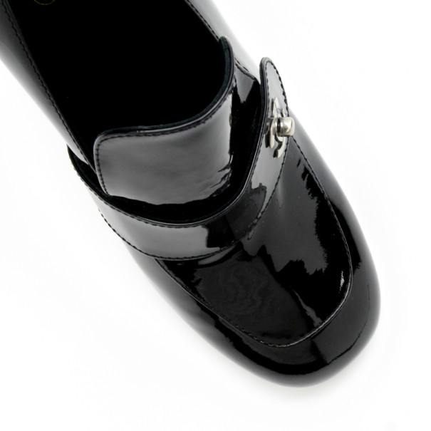 Chanel Black Patent Moccasin Loafer Pumps Size 41