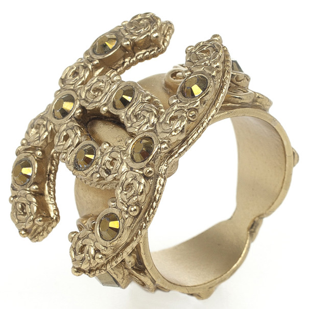 Chanel CC Gold Tone Large Ring Size 54.5