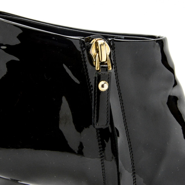 Louis Vuitton Black Patent Oh Really! Peep Toe Ankle Boots Size 38