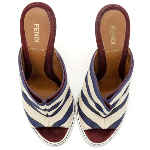 Fendi Striped Satin, Suede and Leather Mules Size 38
