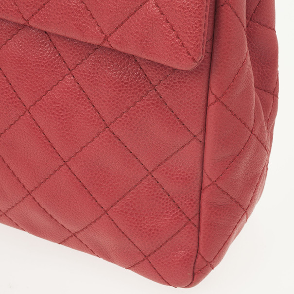 Chanel Red Lambskin Classic Maxi Flap