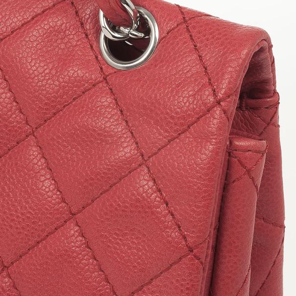 Chanel Red Lambskin Classic Maxi Flap