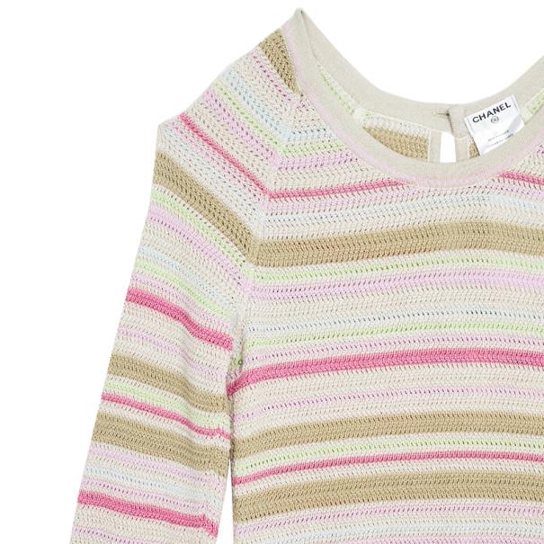 Chanel Striped Long Sleeved Dress M