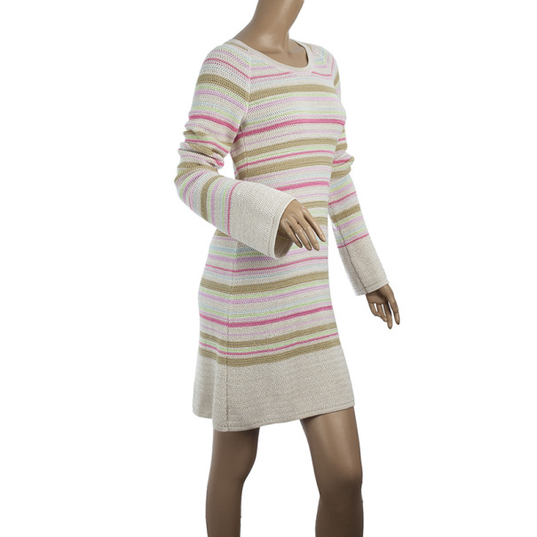 Chanel Striped Long Sleeved Dress M