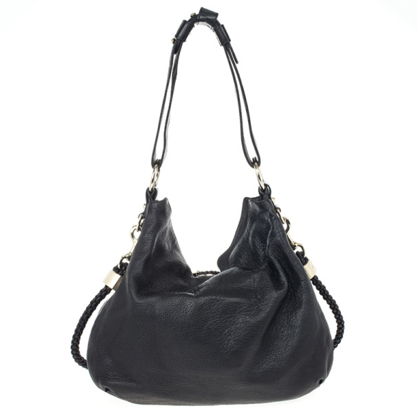 Gucci Black Leather Braided Handle Large Hobo