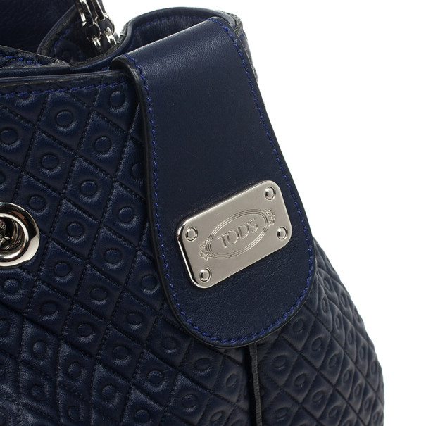Tod`s Signature Medium Navy Blue Patent Leather Tote Bag