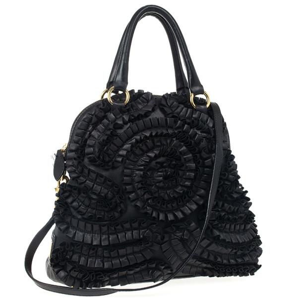 Valentino Black Leather Petale Dome Satchel