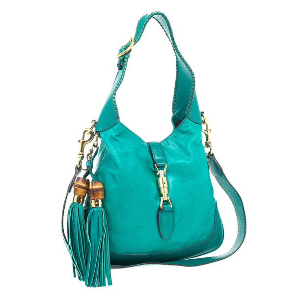 Gucci Turquoise Leather New Jackie Medium Hobo Bag