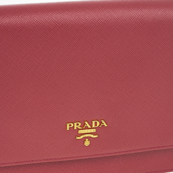 Prada Pink Saffiano Crossbody Convertible Clutch
